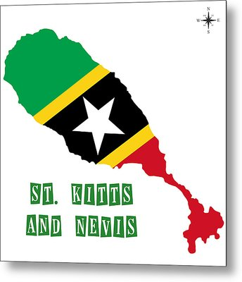 Political Map Of St Kitts And Nevis Metal Print by Celestial Images