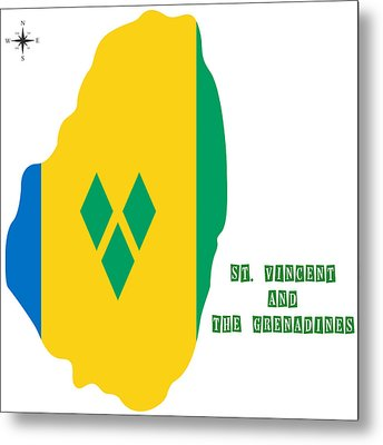 Political Map Of St Vincent And The Grenadines Metal Print