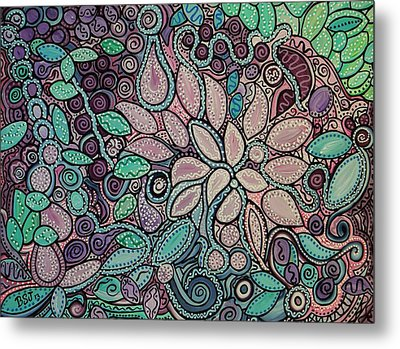 Polka Dot Flowers Metal Print by Barbara St Jean