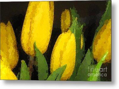 Polka Dot Yellow Tulips Metal Print by Barbara Griffin