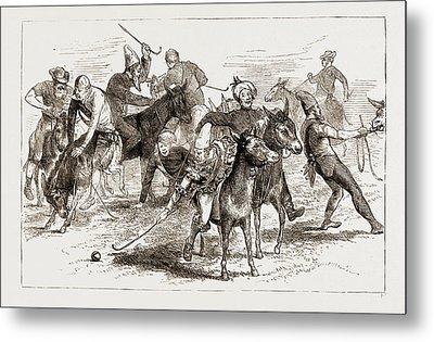 Polo Burlesqued, The Volunteer Camp At Wimbledon Uk 1873 Metal Print