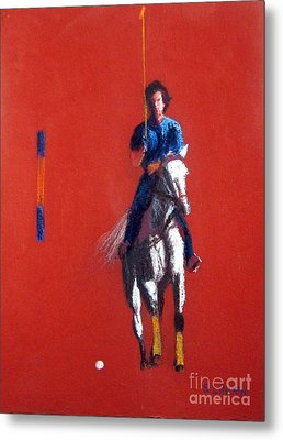 Polo Player Metal Print by Sandy Linden