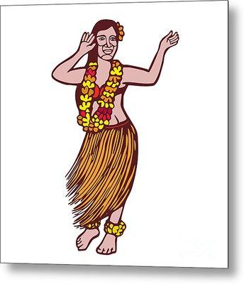 Polynesian Dancer Grass Skirt Linocut Metal Print by Aloysius Patrimonio