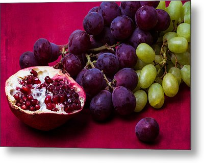Pomegranate And Green And Red Grapes Metal Print by Alexander Senin
