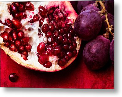 Pomegranate And Red Grapes Metal Print by Alexander Senin