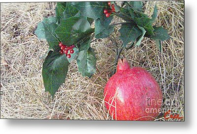 Pomegranate Love Forever Metal Print by Feile Case