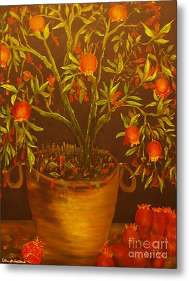 Pomegranate Tree Of Love-original Sold- Buy Giclee Print Nr 28 Of Limited Edition Of 40 Prints   Metal Print