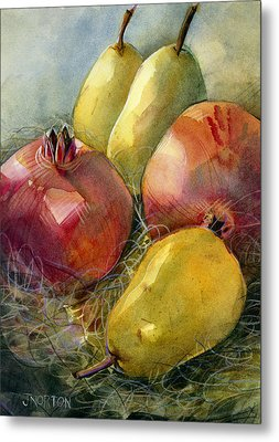 Pomegranates And Pears Metal Print by Jen Norton