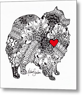 Metal Print featuring the drawing Pomeranian by Melissa Sherbon