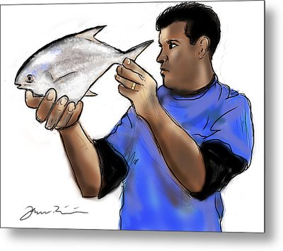 Metal Print featuring the painting Pompano Catch Of The Day by Jean Pacheco Ravinski