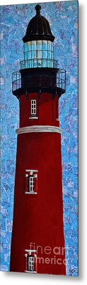 Metal Print featuring the mixed media Ponce Inlet Lighthouse by Melissa Sherbon