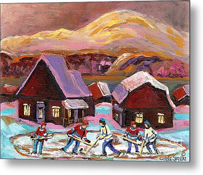 Pond Hockey 1 Metal Print by Carole Spandau