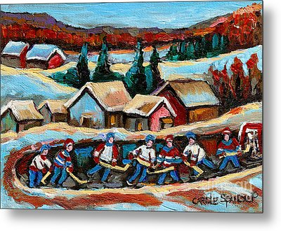 Pond Hockey Game In The Country Metal Print by Carole Spandau