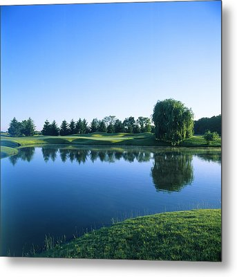 Pond In A Golf Course, Rich Harvest Metal Print by Panoramic Images