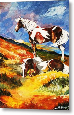 Metal Print featuring the painting Ponies At Sunset by Al Brown
