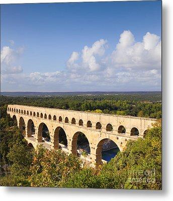 Pont Du Gard Roman Aqueduct Languedoc Roussillon France Metal Print by Colin and Linda McKie