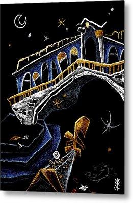 Ponte Di Rialto - Grand Canal Venise Gondola Illustration Metal Print by Arte Venezia