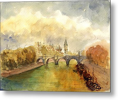 Ponte Neuf Paris Metal Print by Juan  Bosco