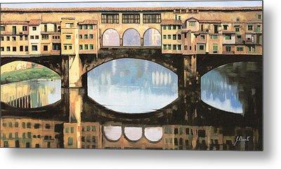 Ponte Vecchio A Firenze Metal Print by Guido Borelli