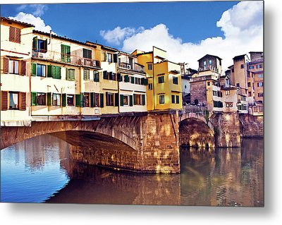 Ponte Vecchio And Arno River, Florence Metal Print by Miva Stock