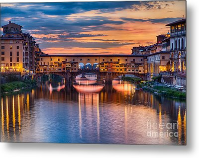 Ponte Vecchio At Sunset Metal Print
