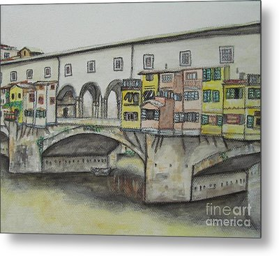 Ponte Vecchio Florence Italy Metal Print by Malinda  Prudhomme