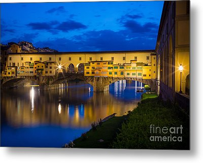 Ponte Vecchio Reflection Metal Print by Inge Johnsson