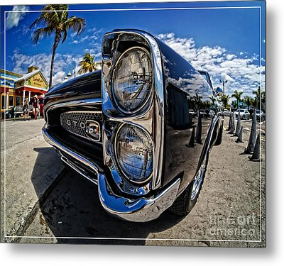 Pontiac Gto Convertible Ft Myers Beach Florida Metal Print by Edward Fielding