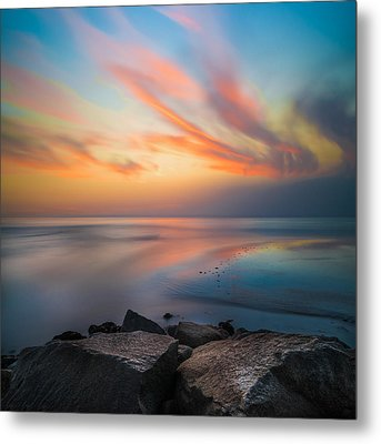 Ponto Jett Sunset - Square Metal Print by Larry Marshall