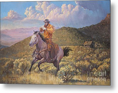 Pony Express Rider At Look Out Pass Metal Print by Rob Corsetti