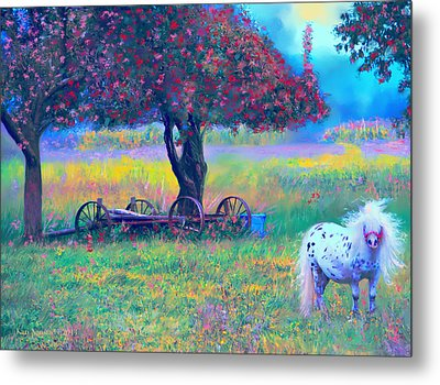 Pony In Pasture Metal Print