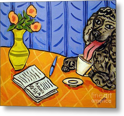 Poodle At The Cafe Metal Print by Jay  Schmetz