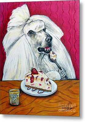 Poodle With Cheesecake Metal Print by Jay  Schmetz