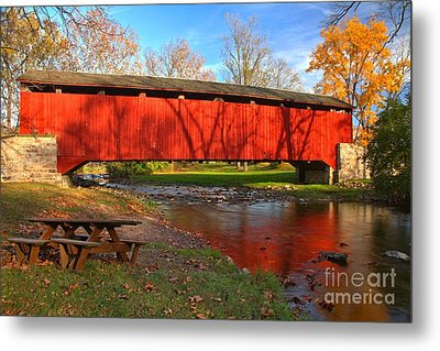Poole Forge Covered Bridge Reflections In The Conestoga Metal Print