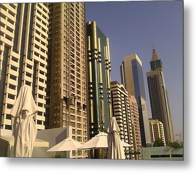 Poolside In Dubai Metal Print by Ted Williams