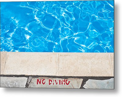 Poolside Warming Metal Print by Tom Gowanlock