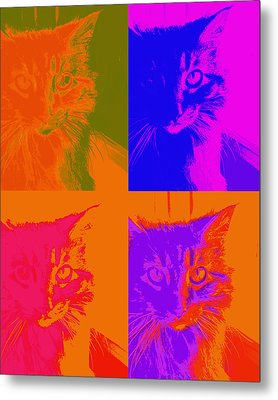 Pop Art Cat  Metal Print by Ann Powell