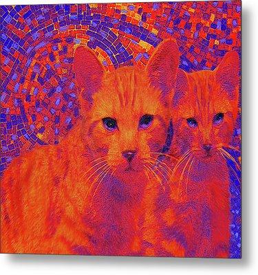 Pop Art Cats Metal Print by Jane Schnetlage