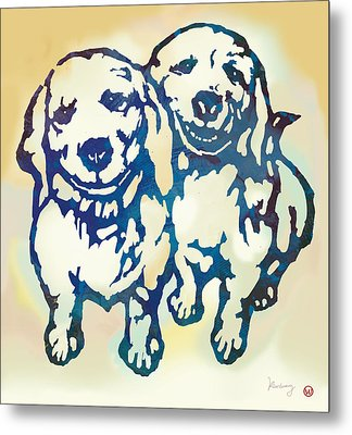 Pop Art Etching Poster - Dog - 10 Metal Print by Kim Wang