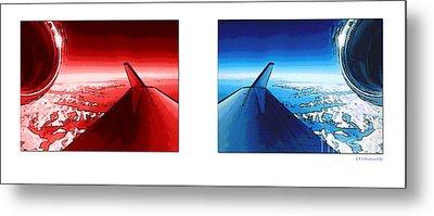 Red Blue Jet Pop Art Planes  Metal Print by R Muirhead Art