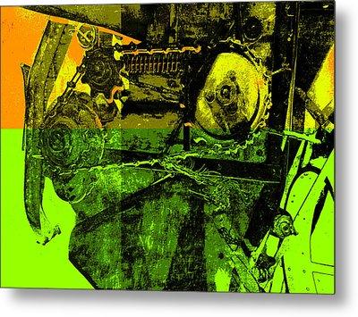 Pop Art Style Machine Gears Metal Print by Ann Powell