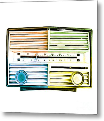 Pop Art Vintage Radio Metal Print by Edward Fielding