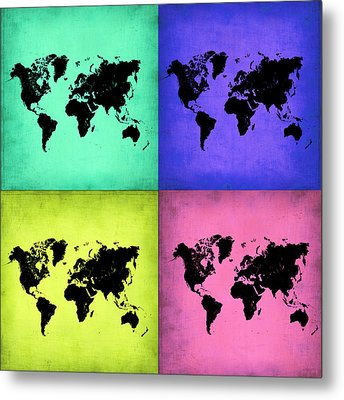 Pop Art World Map 2 Metal Print by Naxart Studio