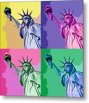 Pop Liberty Metal Print by Delphimages Photo Creations