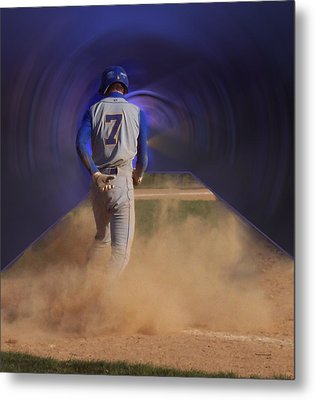 Pop Slide At Third Base Metal Print by Thomas Woolworth