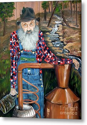 Metal Print featuring the painting Popcorn Sutton - Bootlegger - Still by Jan Dappen