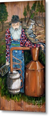Metal Print featuring the painting Popcorn Sutton - Moonshiner - Redneck by Jan Dappen