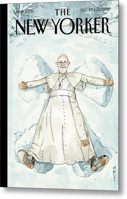 Pope Francis Makes A Snow Angel Metal Print