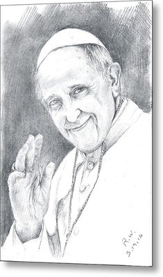 Pope Francis Metal Print by Rose Wang