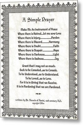 Pope Francis St. Francis Simple Prayer Peace On Parchment Metal Print by Desiderata Gallery